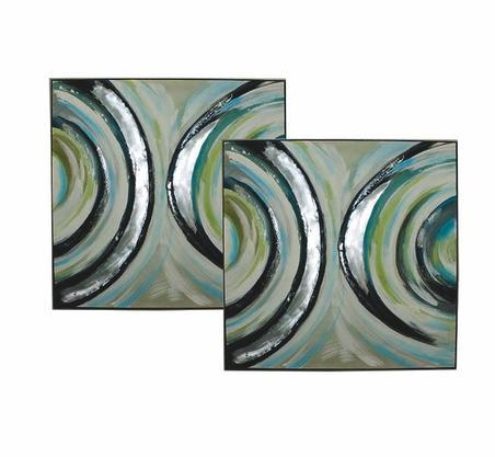 cj 2 quadros pintura abstrata meio circulo 100x100x5cm
