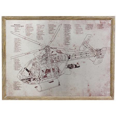quadro estrutura helicoptero 60x80x3cm