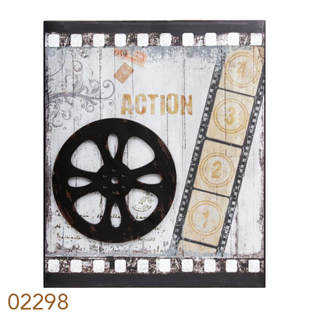 quadro metal antiques movies rolo  60x50x3cm