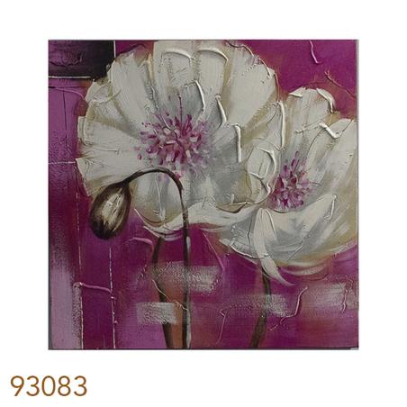 quadro pintura flores brancas fdo rosa2  60x60x3cm