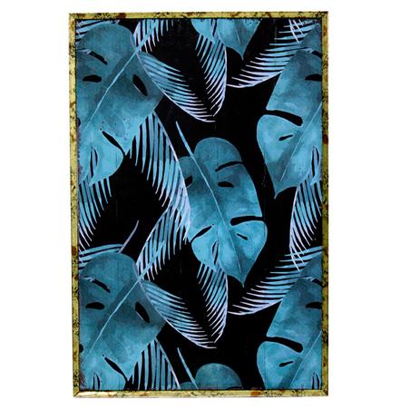 quadro com moldura folhas fundo escuro 60x40x4cm