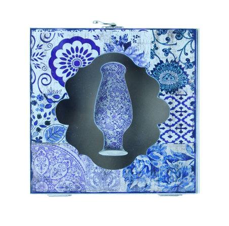 caixa cj 2 pc vaso azul comvidro  20x20x9cm