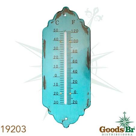 termometro em metal trab azul 26x10x1cm