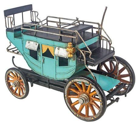 carruagem azul e amarelo emmetal  21x31x16cm