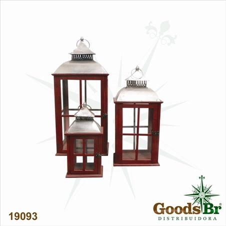 lanterna cj 3pc vermelhas madeira  82x36x36cm