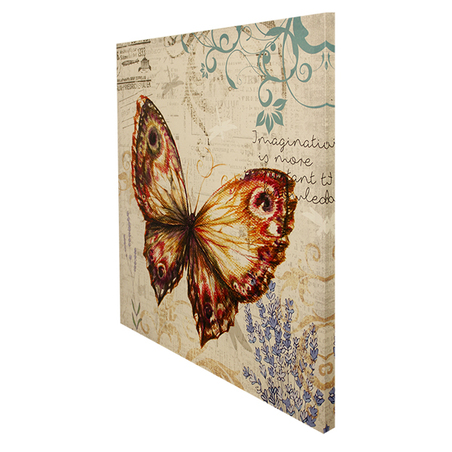 tela impressa borboleta ocre  70x70x3cm