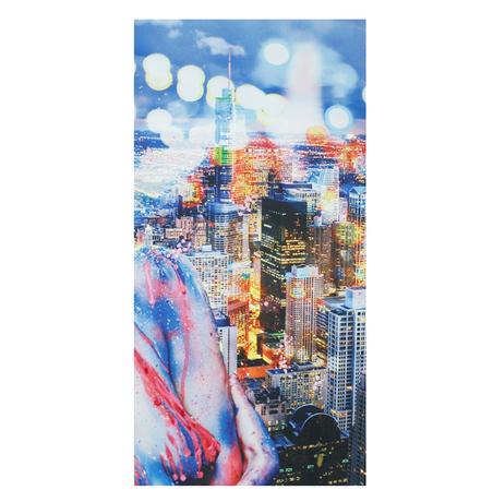 tela impressa e pintada a mao city  80x160x4cm