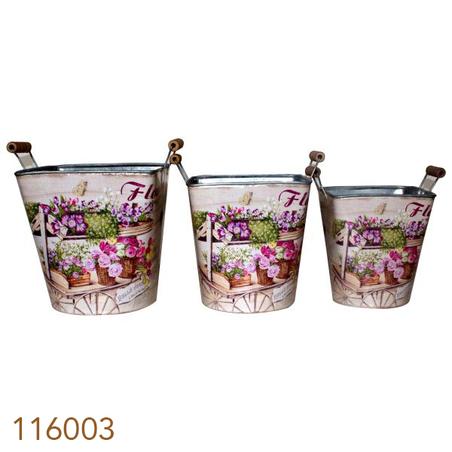 cachepot em zinco cj 3pc flores  21x20x20cm