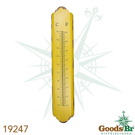 -termometro em metal longo amarelo  101x19x1cm