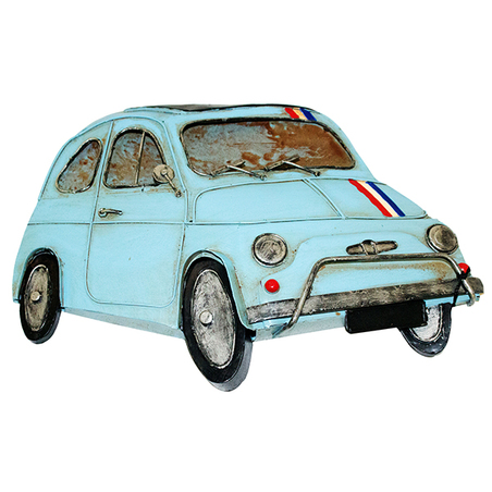 -carro fiat 500 azul  em metpara pendurar  31x21x4cm