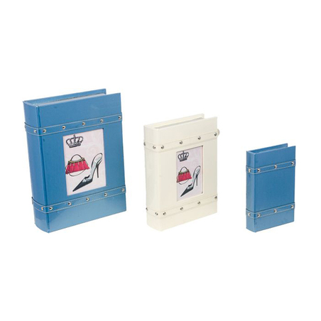 -book box cj 3pc p/retr azul/bco pu  37x25x10cm