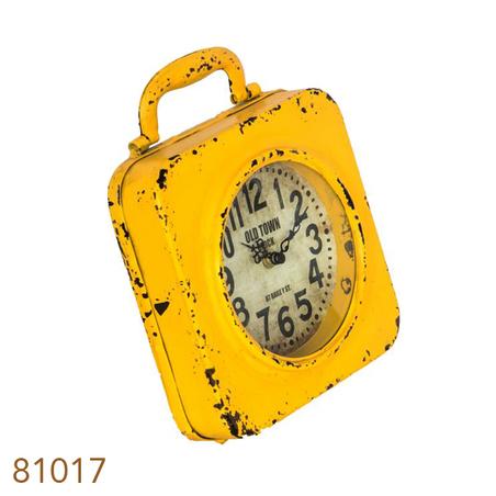 relogio amarelo em ferro  24x20x5cm