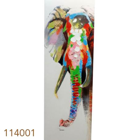 quadro pintura elefante  150x50x4cm