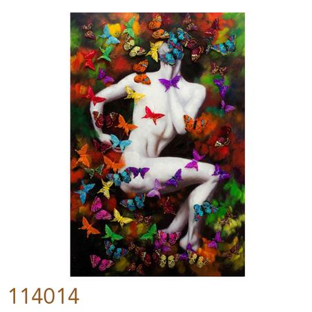 quadro pintura homem com borboletas  120x80x4cm