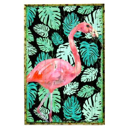 quadro com moldura folhas flamingo rosa 60x40x4cm