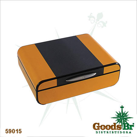 caixa de relogios amarela/preta g 9x28x21cm