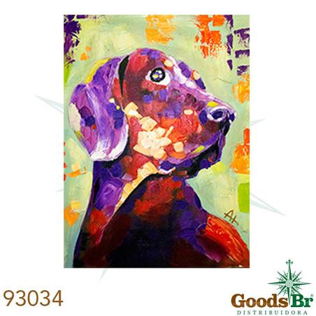 quadro pintura de cachorro100x75x4cm