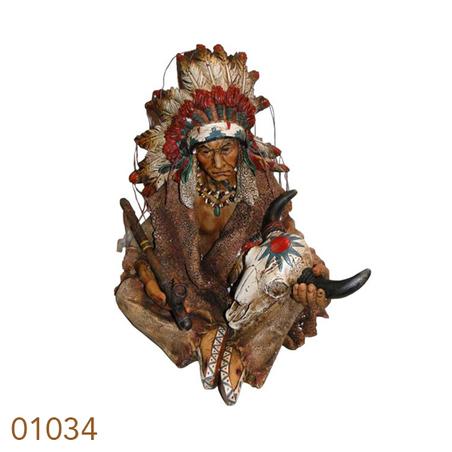 indio sentado c/ cachimbo eveira boi  39x37x28cm