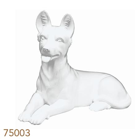 estatua resina branca cachorro  43x26x60cm