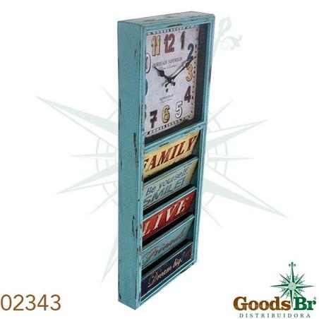 relogio parede com revisteicolorido  65x26x6,5cm
