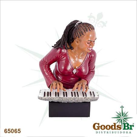 estatua mulher pianista oldw 48x31x28cm