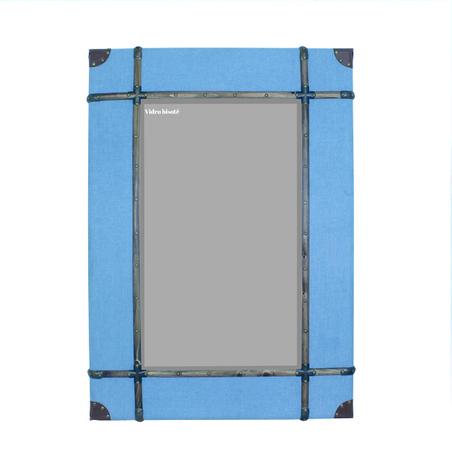 -espelho emoldurado tecido blue  120x85x8cm