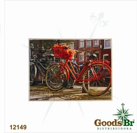 tela impressa bike vermelha 60x80x3cm