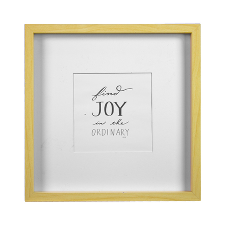 porta retrato joy madeira branco e bege 32x32x2cm