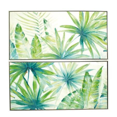 cj 2 quadros pintura a folhas verdes 60x120x5cm