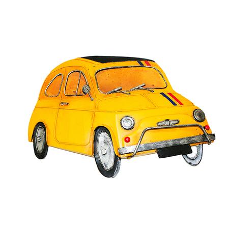 -carro fiat 500 amarelo metal p/ pendurar  31x21x4cm