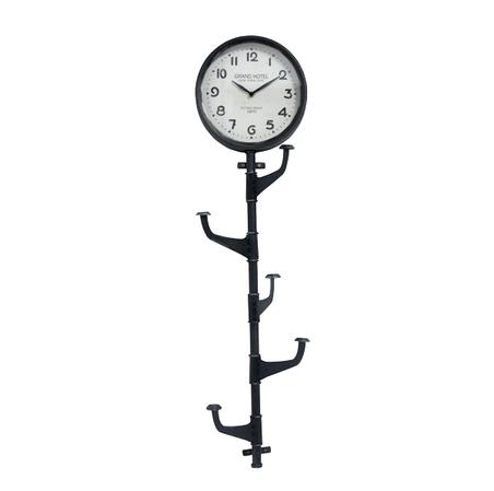 relogio parede metal com cabideiro preto 92,5x26x6cm