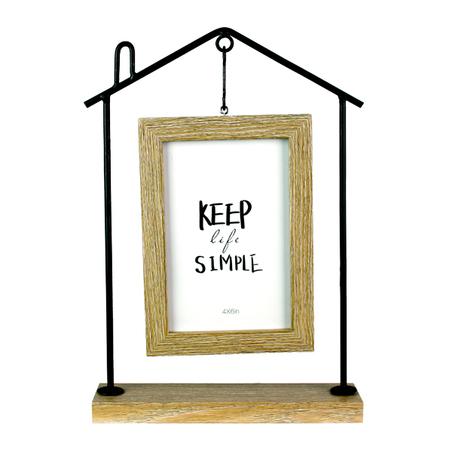 escultura casa keep simple ferro madeira bege 29x20x6cm