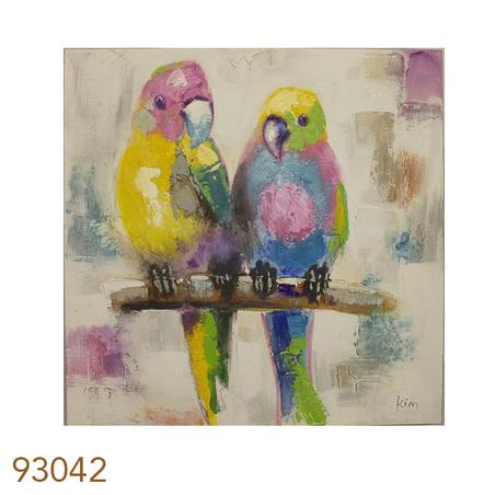 quadro pintura 2 passaros de frente  110x110x4cm