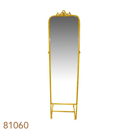 espelho chao suspenso moldura amarelo  163x43x43cm