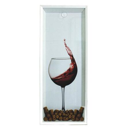quadro porta rolhas taca vinho fundo branco 90x35x7cm