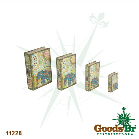 book box cj 4pc elefante india  30x21x7cm