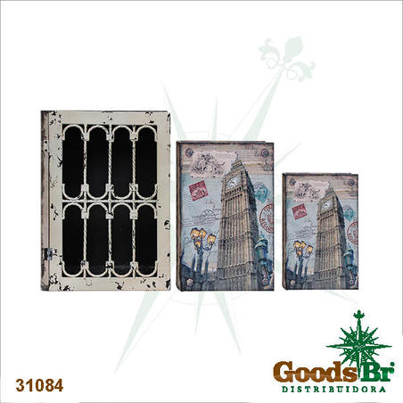book box cj 3pc c grade iron big ben  35x26x9cm