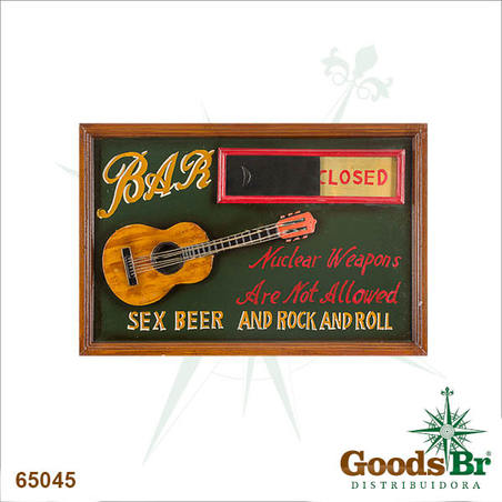 quadro sex beer and rock open/cloused  40x60x3cm