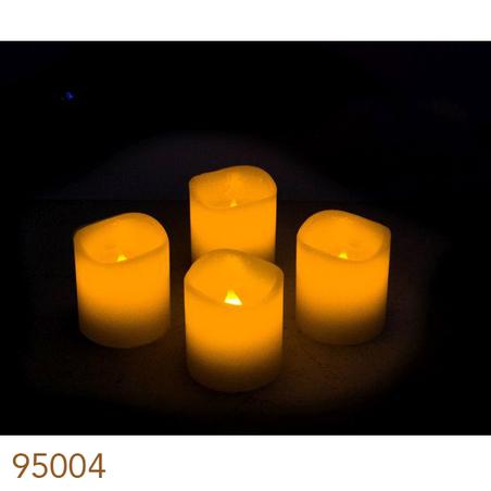 velas led cj 4pc marfim  6x5x5cm
