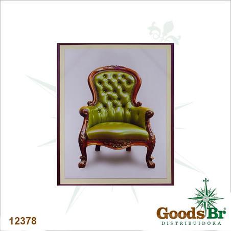 tela impressa poltrona verde  60x50x3cm
