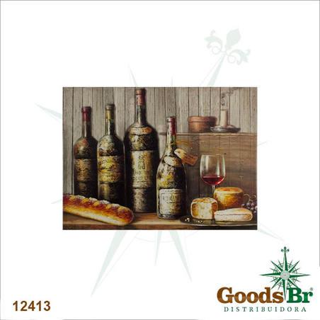 tela impressa garrafas de vinho  50x70x4cm