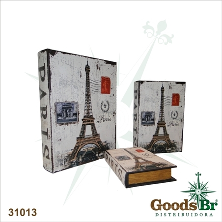 livro (book box) cj 3pc paris 35x26x8cm