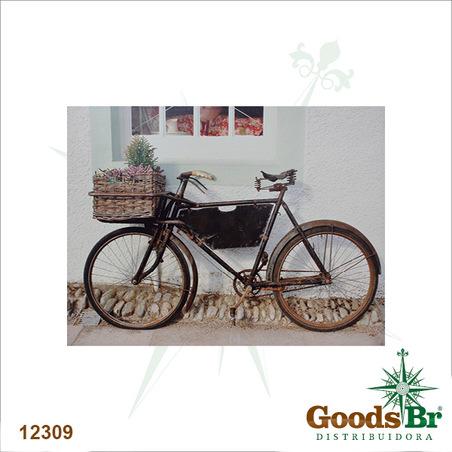 tela impressa bike preta cesta flores  85x113x4cm