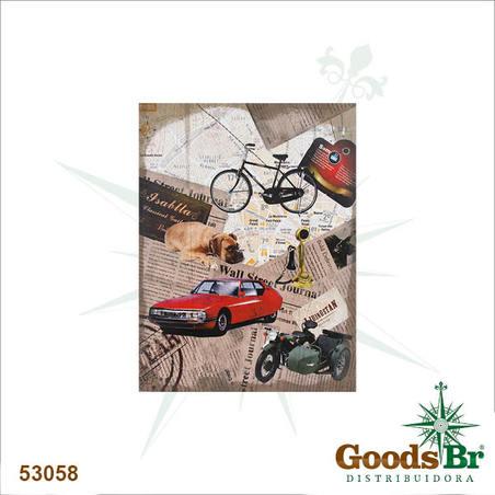 -tela linho imagem carro vermelho  80x60x4cm
