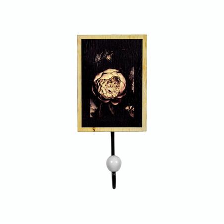 cabideiro metal madeira dark floral p 22x10x7cm