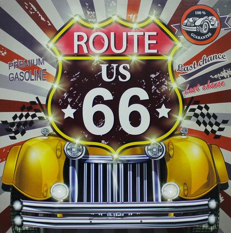 -tela imp led route 66 yellow  80x80x4cm