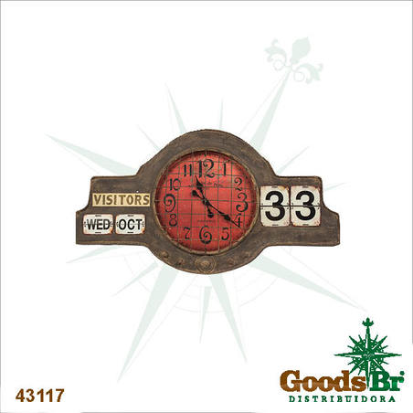 -relogio/calendario parede metal mostred  60x109x7cm