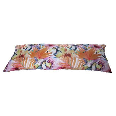-almofada flores c/ tucanos30x80x12cm