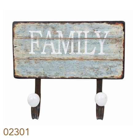 gancheira metal 2 ganchos family  23x20x8cm
