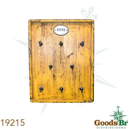 porta chaves amarelo 8ganchs  36x27x6